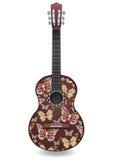 La chitarra ha decorato la farfalla astratta con gli ornamenti dei fiori delle rose Disegno decorativo Immagine Stock
