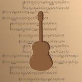 La chitarra ha tagliato di carta - vector il fondo di musica con le note Fotografia Stock