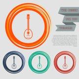 La chitarra, icona dello strumento di musica sui bottoni rossi, blu, verdi, arancio per il vostro sito Web e sulla progettazione  Fotografia Stock