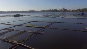 La choza de bambú y la estructura construidas para la acuicultura local proporcionan el sustento para la pequeña comunidad agríco almacen de video