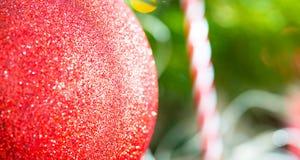 La chuchería macra roja de la Navidad con la reflexión brillante de las luces colgó o Fotografía de archivo libre de regalías