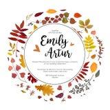 La chute d'automne de mariage invitent le DES floral de carte d'aquarelle d'invitation Photo stock