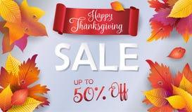 La chute de bon d'Autumn Sale laisse la bannière en bois à la mode Image stock