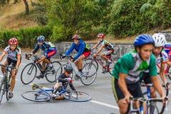 La chute du cycliste Images libres de droits