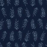 La chute laisse à modèle d'indigo le vecteur sans couture Batik bleu fané de denim illustration de vecteur