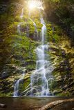La Chute waterfall. Waterfall La Chute cascading over green moss covered rocks in Forillon National Park, Gaspe peninsula, Quebec, Canada Royalty Free Stock Photos