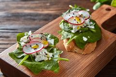 La ciabatta tosta con la ricotta a pasta molle, fette di ravanello, spinaci freschi, semi di lino su fondo di legno fotografia stock libera da diritti