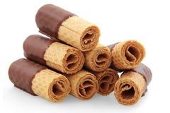 La cialda rotola con cioccolato immagini stock libere da diritti