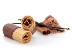 La cialda rotola con cioccolato Fotografia Stock