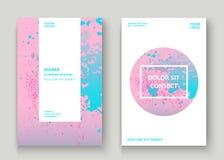 La ciano pittura di esplosione di rosa pastello schizza la progettazione artistica della copertura Fotografie Stock Libere da Diritti