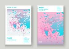 La ciano pittura di esplosione di rosa pastello schizza la progettazione artistica della copertura Fotografia Stock Libera da Diritti