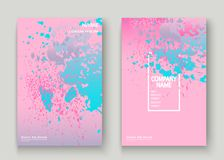 La ciano pittura di esplosione di rosa pastello schizza la progettazione artistica della copertura Fotografie Stock