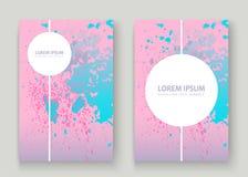 La ciano pittura di esplosione di rosa pastello schizza la progettazione artistica della copertura Immagine Stock Libera da Diritti