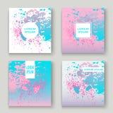 La ciano pittura di esplosione di rosa pastello schizza la progettazione artistica della copertura Fotografia Stock