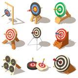 La cible avec des icônes de flèche a placé, style isométrique illustration stock