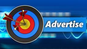 la cible 3d avec font de la publicité le signe Photographie stock libre de droits