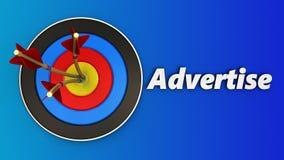 la cible 3d avec font de la publicité le signe Images libres de droits