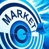 La cible signifie la publicité visée par consommateur Photo stock