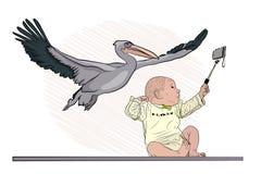 La cicogna ha portato il bambino selfie dalla nascita royalty illustrazione gratis
