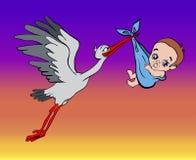 La cicogna porta il bambino nel cielo Immagini Stock