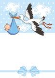 La cigüeña lleva al bebé plantilla de la invitación de la plantilla de la invitación Vector, ejemplo saludo Imagen de archivo libre de regalías
