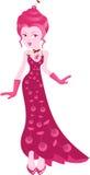La ciliegia della ragazza, la donna del gelato nella piena crescita in vestito rosso Immagine Stock