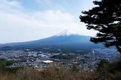 La cima alta vicina di bella montagna di Fuji con la copertura di neve sulla cima con potrebbe e sul fiore di ciliegia in Giappon fotografia stock libera da diritti