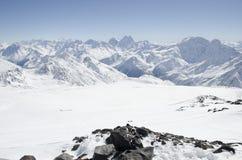 La cima delle montagne di Elbrus Fotografia Stock
