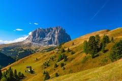 La cima di Sassolungo, dolomia, Italia Fotografie Stock Libere da Diritti