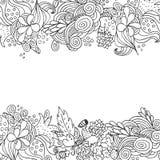 La cima floreale disegnata a mano di scarabocchio di vettore e giù confina la progettazione di carta Fotografia Stock