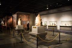 La Cina Asia, Pechino, il museo capitale, reliquie della Kampuchea Angkor e Art Exhibition Immagini Stock