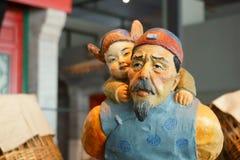La Cina Asia, Pechino, il museo capitale, scultura, vecchia Pechino, clienti pieghi Immagine Stock Libera da Diritti