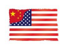 La Cina contro gli S.U.A. Fotografia Stock Libera da Diritti