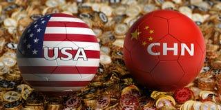 La Cina contro Partita di calcio di U.S.A. - palloni da calcio in Cina e colori nazionali di U.S.A. su un letto delle monete dora fotografia stock