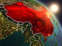 La Cina da spazio durante l'alba Fotografia Stock Libera da Diritti