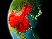 La Cina da spazio nella sera Fotografia Stock Libera da Diritti