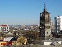 La Cina Dalian in Liaoning wafangdian indica la torre del yongfeng Fotografie Stock