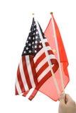La Cina e bandierina degli S.U.A. Fotografie Stock Libere da Diritti