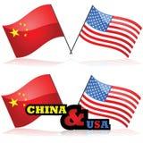 La Cina e gli Stati Uniti Immagine Stock