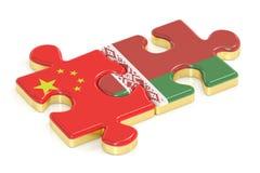 La Cina e la Bielorussia imbarazza dalle bandiere, rappresentazione 3D Immagini Stock Libere da Diritti