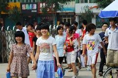 La Cina: gli allievi catturano l'esame Fotografie Stock Libere da Diritti