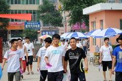 La Cina: gli allievi catturano l'esame Immagini Stock