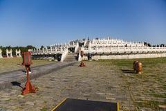 La Cina, Pechino Il tempio del cielo (Tiantan), piattaforma circolare dell'altare del monticello Immagine Stock Libera da Diritti