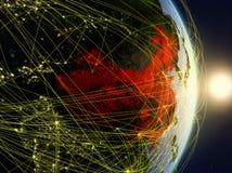 La Cina su pianeta Terra di reti immagini stock