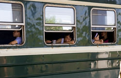 La Cina - treno verde della pelle Fotografie Stock Libere da Diritti