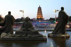 La Cina & x28; xi & x27; un pagoda& x29 dell'oca selvatica; e area scenica della città del datang nella provincia di Shaanxi Immagini Stock