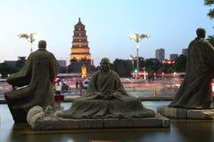 La Cina & x28; xi & x27; un pagoda& x29 dell'oca selvatica; e area scenica della città del datang nella provincia di Shaanxi Fotografie Stock Libere da Diritti
