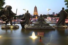 La Cina & x28; xi & x27; un pagoda& x29 dell'oca selvatica; e area scenica della città del datang nella provincia di Shaanxi Immagine Stock Libera da Diritti