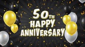 la cinquantième salutation heureuse et les souhaits de noir d'anniversaire avec des ballons, confettis ont fait une boucle le mou illustration libre de droits