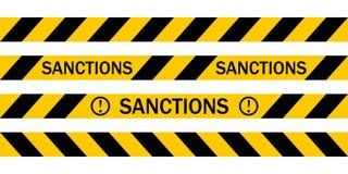 La cinta amonestadora amarilla con las SANCIONES de la inscripción, Vector las cintas amonestadoras sobre la introducción de sanc Foto de archivo libre de regalías